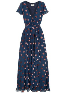 Temperley London Woman Devoré-chiffon Wrap Dress Navy