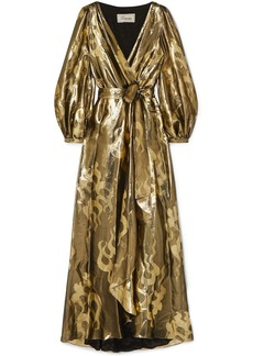 Temperley London Woman Eda Wrap-effect Silk And Lurex-blend Jacquard Maxi Dress Gold