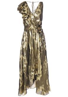 Temperley London Woman Eda Wrap-effect Silk And Lurex-blend Jacquard Midi Dress Gold