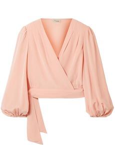 Temperley London Woman Eden Silk Crepe De Chine Wrap Top Blush