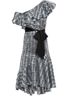 Temperley London Woman Eliska One-shoulder Ruffled Metallic Fil Coupé Dress Silver