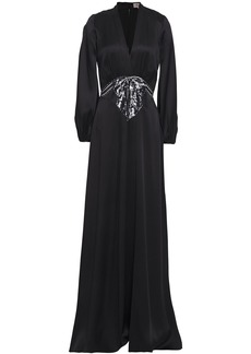 Temperley London Woman Embellished Satin-crepe Gown Black