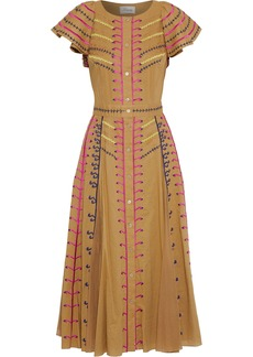 Temperley London Woman Expedition Embroidered Cotton-gauze Midi Dress Camel