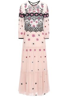 Temperley London Woman Finale Bowtie Embroidered Georgette Midi Dress Pastel Pink