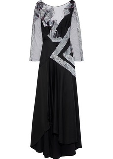 Temperley London Woman Insignia Sequin-embellished Tulle-paneled Cutout Satin-crepe Gown Black