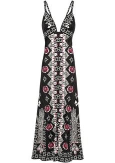 Temperley London Woman Flux Printed Satin-jacquard Midi Slip Dress Black