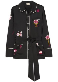 Temperley London Woman Georgie Belted Embroidered Satin Shirt Black