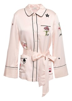 Temperley London Woman Georgie Belted Embroidered Satin Shirt Pastel Pink