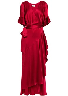 Temperley London Woman Grace Ruffled Satin Maxi Wrap Dress Claret