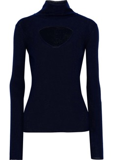 Temperley London Woman Gravity Cutout Merino Wool Turtleneck Sweater Navy