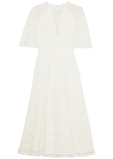 Temperley London Woman Haze Embroidered Tulle-paneled Guipure Lace Midi Dress Off-white