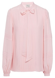 Temperley London Woman Jade Pussy-bow Pintucked Crepe De Chine Blouse Baby Pink