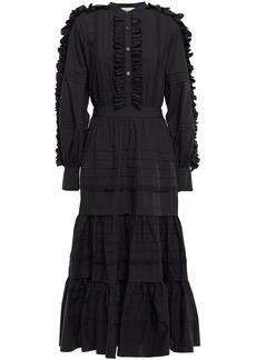 Temperley London Woman Jade Tiered Ruffle-trimmed Cotton-poplin Midi Dress Black
