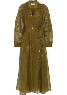 Temperley London Woman Jet Sequin-embellished Silk-organza Midi Wrap Dress Leaf Green