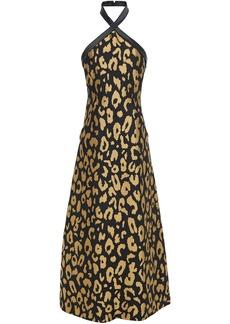 Temperley London Woman Josie Metallic Leopard-jacquard Halterneck Midi Dress Black