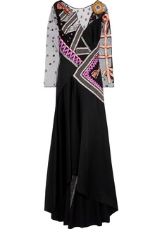Temperley London Woman Kite Embroidered Tulle-paneled Satin-crepe Gown Black