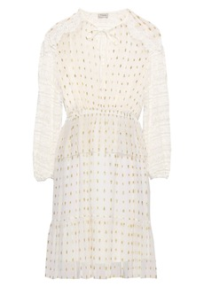 Temperley London Woman Lace-trimmed Metallic Fil Coupé Chiffon Mini Dress White