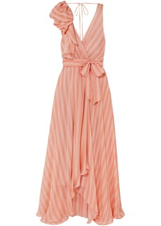 Temperley London Woman Linden Asymmetric Wrap-effect Striped Silk-chiffon Maxi Dress Peach