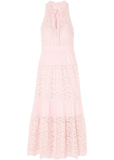 Temperley London Woman Lunar Guipure Lace And Pleated Cotton-blend Maxi Dress Pastel Pink