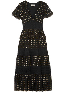 Temperley London Woman Metallic Fil Coupé Woven Midi Dress Black