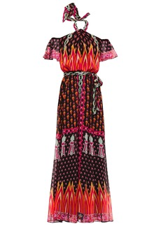 Temperley London Woman Millais Cold-shoulder Printed Chiffon Maxi Dress Black