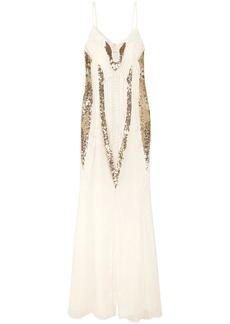 Temperley London Woman Moondrop Sequined Corded Chiffon Maxi Dress White