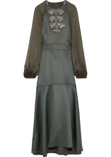 Temperley London Woman Nile Chiffon-paneled Embellished Satin-crepe Midi Dress Leaf Green