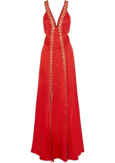 Temperley London Woman Nile Cutout Embellished Satin-crepe Gown Red