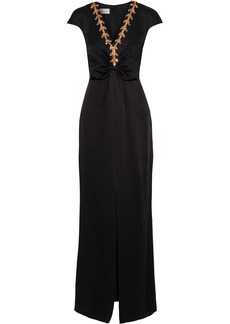 Temperley London Woman Nile Tie Split-front Embellished Satin-crepe Gown Black