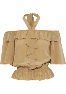 Temperley London Woman Eden Ruffled Silk-crepe Halterneck Blouse Light Brown
