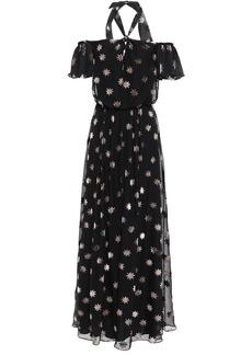 Temperley London Woman Off-the-shoulder Twist-front Devoré-velvet Maxi Dress Black