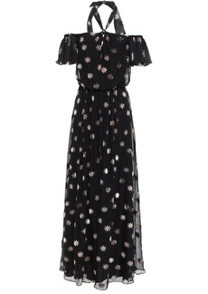 Temperley London Woman Off-the-shoulder Twist-front Devoré-velvet Maxi Dress Black