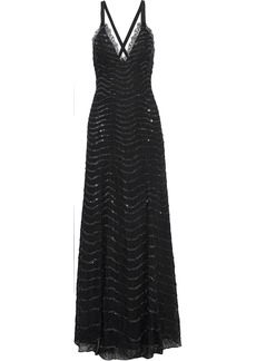 Temperley London Woman Panther Sequin-embellished Lace Gown Black