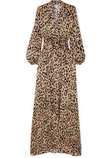 Temperley London Woman Piera Bow-detailed Leopard-print Hammered Silk-satin Gown Animal Print