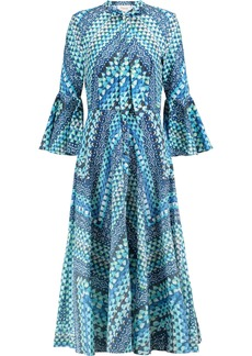 Temperley London Woman Printed Cotton Midi Dress Navy