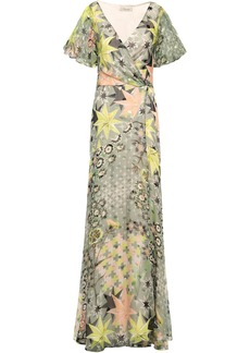 Temperley London Woman Printed Fil Coupé Silk-blend Wrap Dress Grey Green