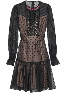 Temperley London Woman Prix Lace-paneled Flocked Cotton-blend Organza Mini Dress Black