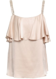 Temperley London Woman Ruffled Embellished Silk-charmeuse Top Neutral