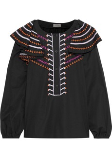 Temperley London Woman Ruffled Embroidered Cotton Shirt Midnight Blue