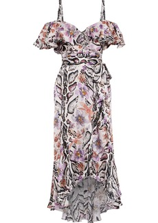 Temperley London Woman Safari Cold-shoulder Printed Hammered-silk Midi Dress Blush
