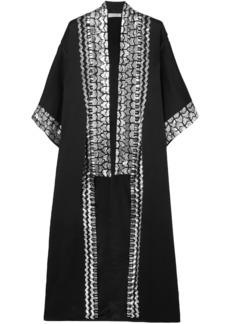 Temperley London Woman Sequin-embellished Satin-crepe Kimono Black