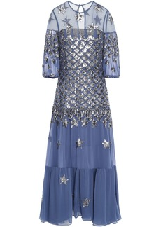 Temperley London Woman Sequin-embellished Tulle And Georgette Midi Dress Blue