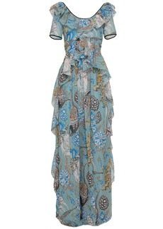 Temperley London Woman Shire Ruffled Printed Fil Coupé Georgette Maxi Dress Teal