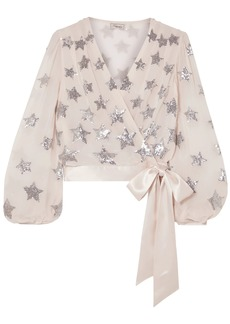 Temperley London Woman Starlet Satin-trimmed Sequined Georgette Wrap Blouse Beige