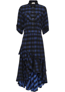 Temperley London Woman Stirling Asymmetric Checked Jacquard Dress Navy