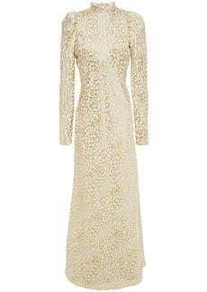 Temperley London Woman Sunset Gathered Metallic Silk-blend Leopard-jacquard Maxi Dress Cream