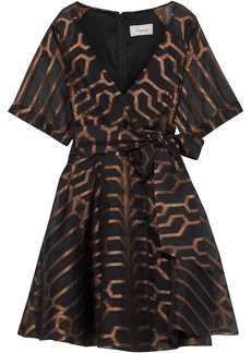 Temperley London Woman Tapis Wrap-effect Metallic Fil Coupé Silk-blend Mini Dress Black
