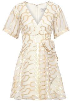 Temperley London Woman Tapis Wrap-effect Metallic Fil Coupé Silk-blend Mini Dress Ivory