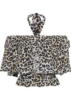 Temperley London Woman Wild Cat Ruffled Leopard-print Crepe Halterneck Blouse Animal Print