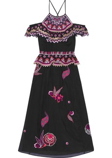 Temperley London Woman Cold-shoulder Embroidered Cotton And Silk-blend Gauze Midi Dress Black